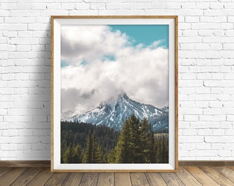 "landscape photography, clouds, mountains, snow, wilderness, large art, large wall art, instant download printable art - ""Ross Peak Storm"""