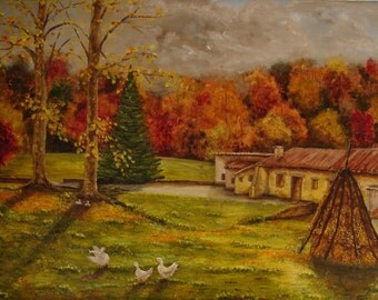 Painting of geese in autumn, oil. Autumn of high mountain landscape. Farmhouse in the catalan Pyrenees, Spain. Oil on linen canvas painting.