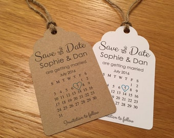 Rustic Calendar Save the Date Tags / Cards with Envelopes