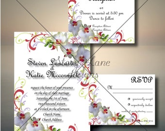 "Wedding Invitation/RSVP/Reception Card ""Orchid Bloom"""
