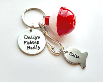 Daddy's Fishing Buddy Hand Stamped Keychain with Fishing Lure Charm, Bobber and Personalized Fish, Fishing Keychain, valentine's day