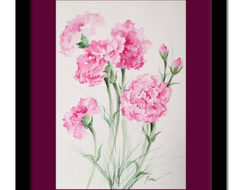 "January birthday flowers. Pink carnations. Original watercolor paintings. Pink flower painting. Original flowers. Floral watercolor 7"" x 10"""