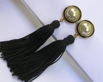 Vintage Tassel Dangle Earrings - Shoulder duster earrings
