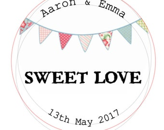 48 x personalised wedding Sweet Love stickers
