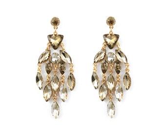 Sage Cascading Crystal Chandelier Earrings (E6)