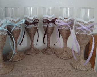 Hand made toasting glasses