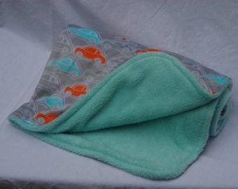 Gray, Orange, Aqua Car Minky Boy's Baby Blanket