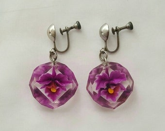 Lucite orchid earrings