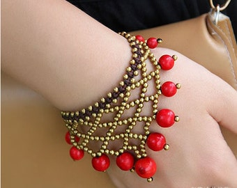 Handmade New Hot Exotic beaded Red Rock Cuff Bracelet For lady