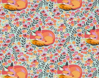 Tula Pink Napping Fox Fabric- Three Yards Total- One Mint, Sorbet, and Purple