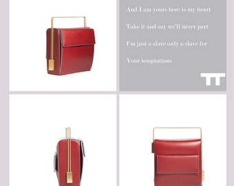 Handmade Lautem red leather handbag