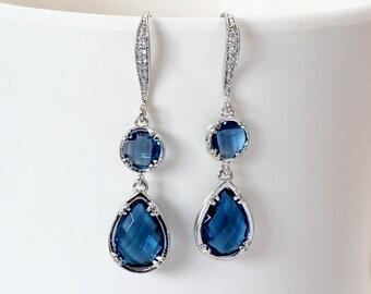 Earrings bridal-bridal earrings-blue earring-something blue - something blue - Bridal jewelry - jewelry blue-tradition-France