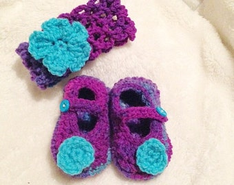 Crochet Multicolored  Mary Jane Baby Shoes & Genius Headband with Flowers