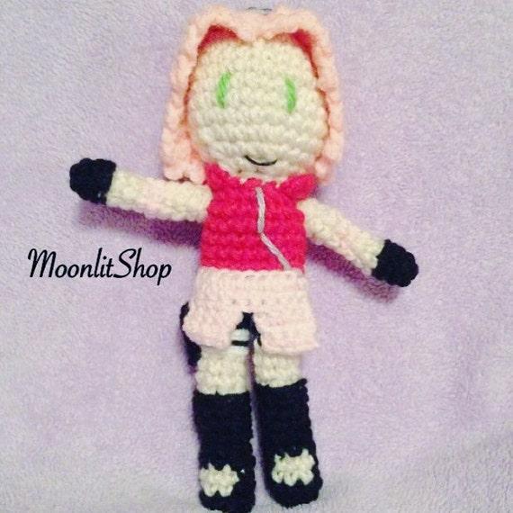Naruto Shippuden Inspired Crochet Sakura Haruno Amigurumi Doll