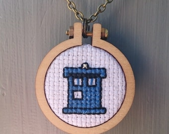 Cross Stitch TARDIS Necklace
