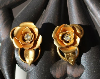 Vintage Estate Golden Rose Figural Earrings
