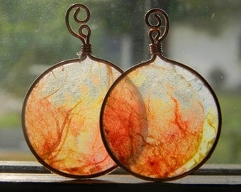Fire earrings - rice paper and copper