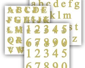 Digital alphabet gold floral alphabet Digital alphabet branches signs Floral Monogram Flowers ABC