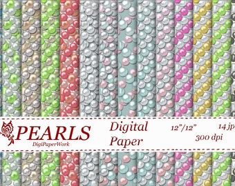 Pearls Digital Paper scrapbooking Instant download pearl pattern pearls background for Personal and Commercial use