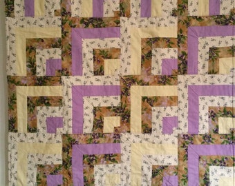 Primitive Log Cabin Lap Quilt (Free Ship), Wall Hanging or Table Topper