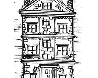 Townhouse (Original Linocut Print)