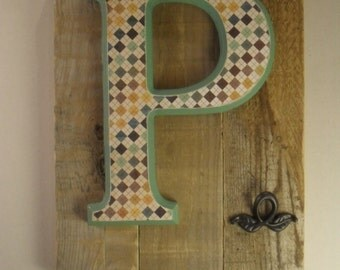 Initial on wood plaque with hooks – P