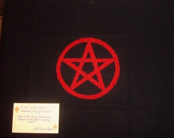 Ruby Red Pentacle Altar Cloth