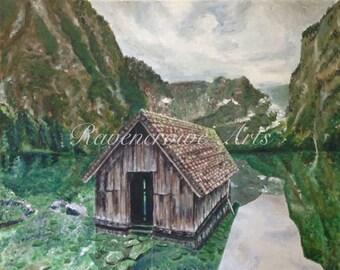 Cabin in Water Print