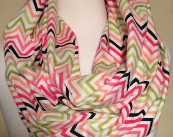Chevron Infinity Scarf Multi Colored Pink Green Coral Soft Gift Flannel