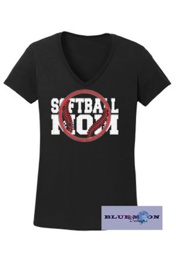 Softball Mom Rhinestone T-Shirt Made to order