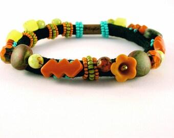Aztec Stones-Beaded soft bracelet.