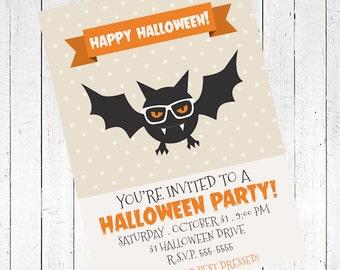 bat invitation halloween party printable - Bat Halloween Party Invitation