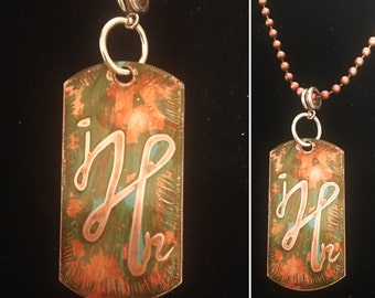 Personalized Etched Monagrammed Copper Patina Dog Tags