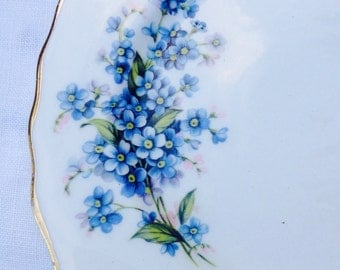 Beautiful Set of Three 1950s Pretty Forget-Me-Not Vintage Royal Vale Plates