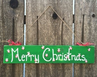 Merry Christmas Sign, Painted Christmas Sign, Hanging Christmas Sign, Rustic Christmas Sign, Rustic Merry Christmas, Decoration, Shabby Chic