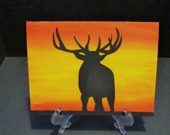 Majestic Elk - Sunset Silhouette Art Card