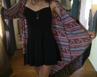 Cute Kimono with Tassel Sleeves and Hem Womens Small/Medium