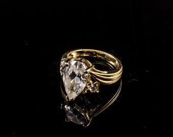 sterling silver gold plated ring with big synthetic stone