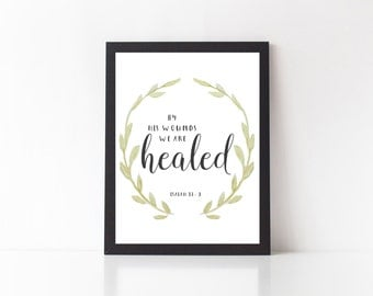 SALE - Isaiah 53:5 - bible verse print, isaiah 53 5, scripture print, art print, wall decor, quote printable