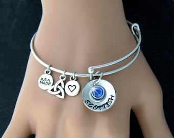Scottish & Proud of It! Hand Stamped adjustable Bangle (Stamp2)