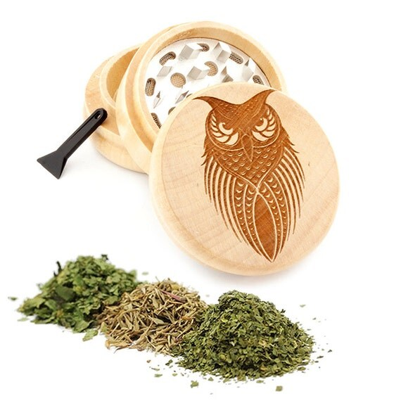 Owl Engraved Premium Natural Wooden Grinder Item # PW050916-92