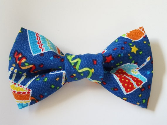 Happy Birthday Party Celebration Bow for Cat and Small Dog Collars, Matching Velcro Collar, 100% of Sales goes to Feeding Feral Cats