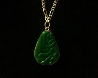 Green Leaf Clay Necklace