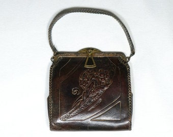 1930s Vintage Arts and Crafts Art Nouveau Nocana Tooled Leather Purse with turn lock clasp