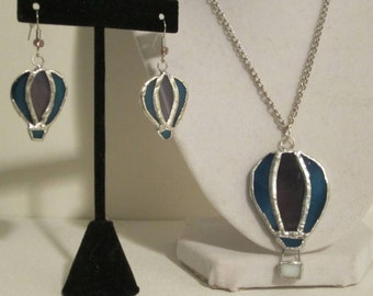 Blue Stained Glass Hot Air Balloon Jewelry Set - Stained Glass Jewelry Set