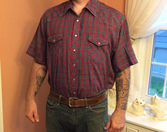 70s Western Shirt, Cowboy, Snap Button Down by Wrangler (A892)