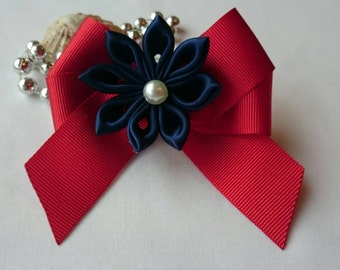 Pair of twin (2x) bows with flowers in French Barrette Hairclips