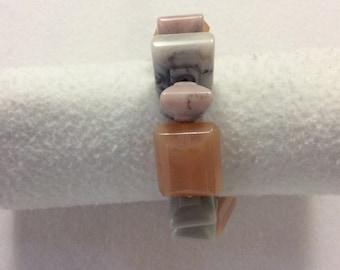Pink gray resin bracelet