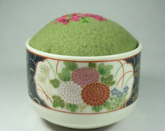 Pin Cushion in Asian Style Tea Cup