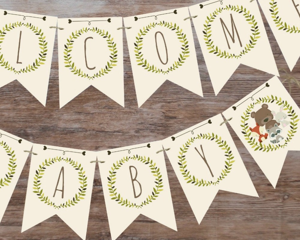 Woodland baby shower banner welcome baby by magicpartydesigns for Welcome home decorations for baby